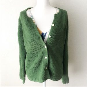 VTG ORVIS Snuggly Green Chunky Cardigan Sweater L